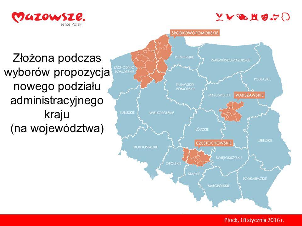 Złożona podczas wyborów propozycja nowego podziału administracyjnego kraju (na województwa)