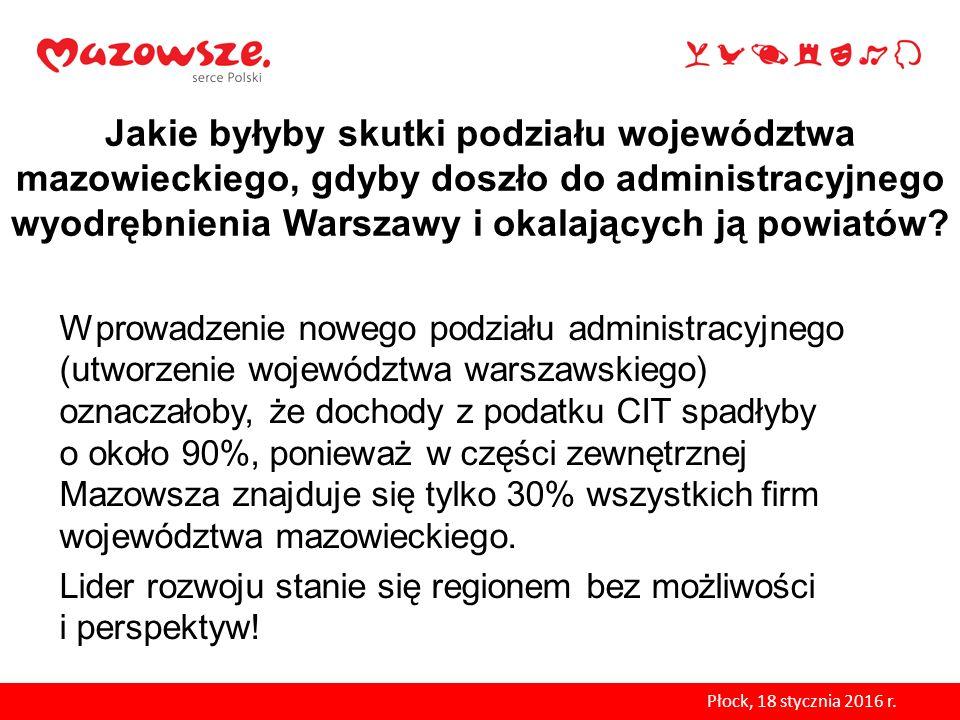Jakie byłyby skutki podziału województwa mazowieckiego, gdyby doszło do administracyjnego wyodrębnienia Warszawy i okalających ją powiatów