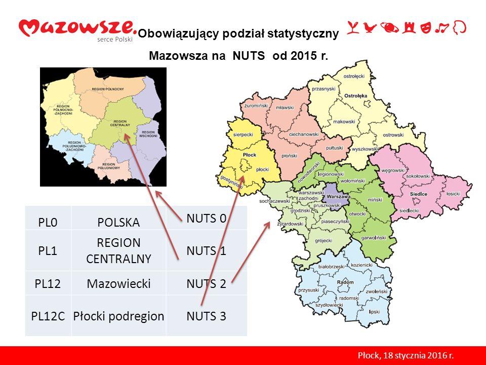 Obowiązujący podział statystyczny Mazowsza na NUTS od 2015 r.