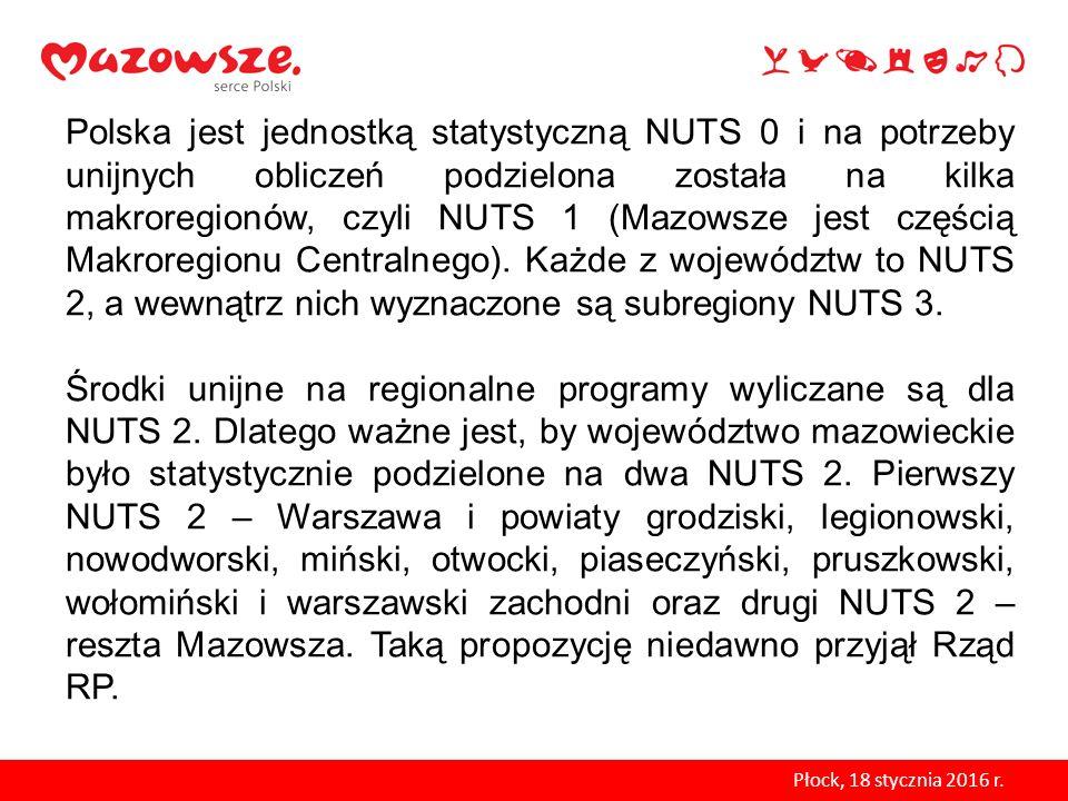 Polska jest jednostką statystyczną NUTS 0 i na potrzeby unijnych obliczeń podzielona została na kilka makroregionów, czyli NUTS 1 (Mazowsze jest częścią Makroregionu Centralnego). Każde z województw to NUTS 2, a wewnątrz nich wyznaczone są subregiony NUTS 3.