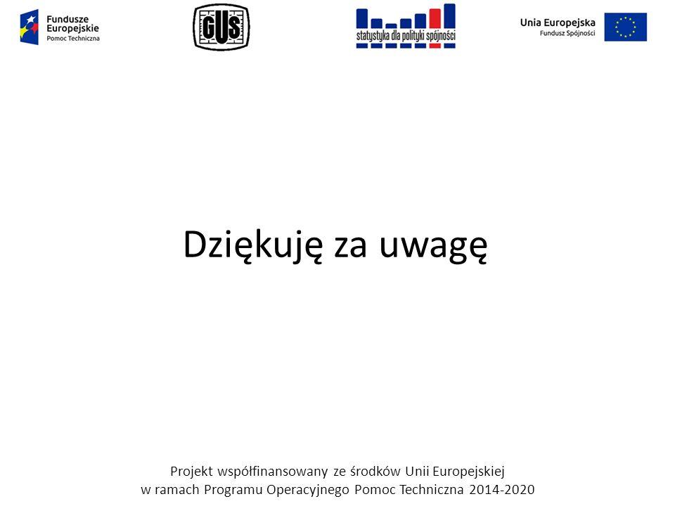 Dziękuję za uwagę Projekt współfinansowany ze środków Unii Europejskiej w ramach Programu Operacyjnego Pomoc Techniczna 2014-2020.