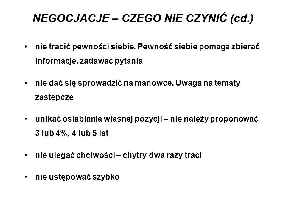 NEGOCJACJE – CZEGO NIE CZYNIĆ (cd.)