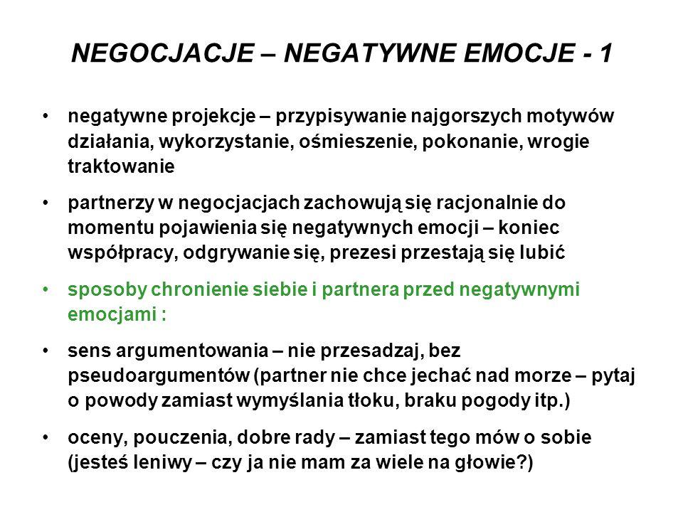 NEGOCJACJE – NEGATYWNE EMOCJE - 1