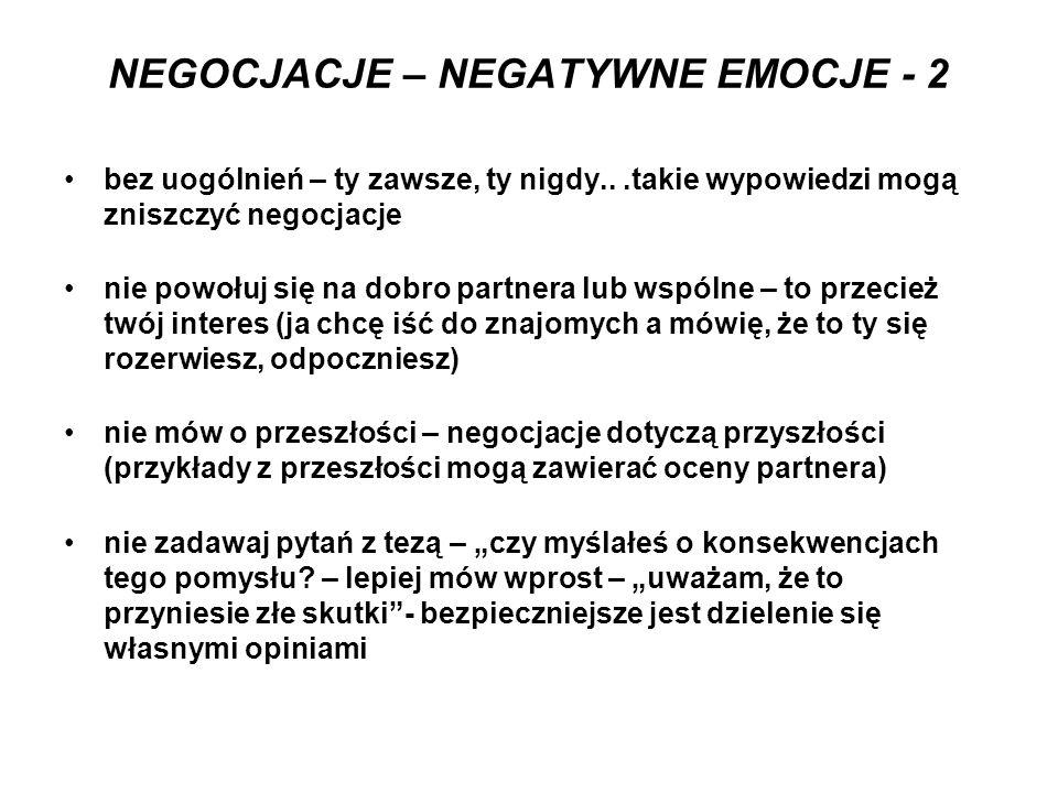 NEGOCJACJE – NEGATYWNE EMOCJE - 2