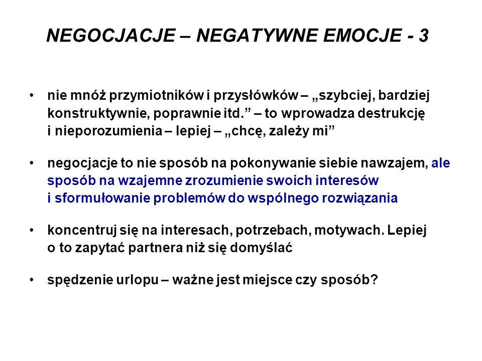 NEGOCJACJE – NEGATYWNE EMOCJE - 3