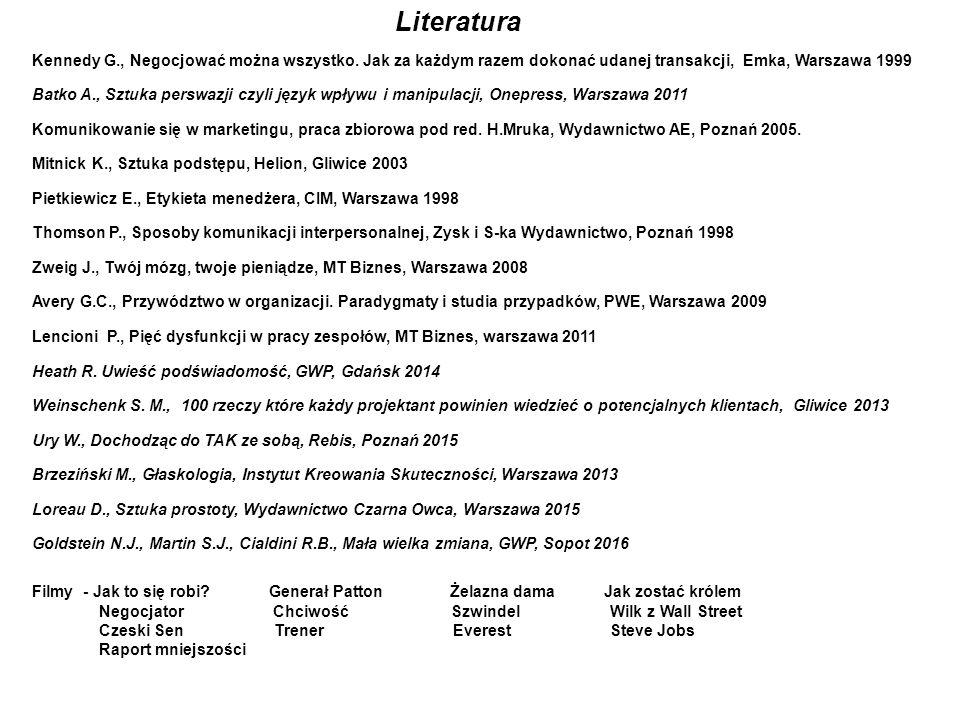 Literatura Kennedy G., Negocjować można wszystko. Jak za każdym razem dokonać udanej transakcji, Emka, Warszawa 1999.
