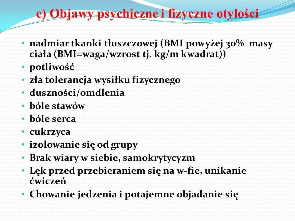 c) Objawy psychiczne i fizyczne otyłości