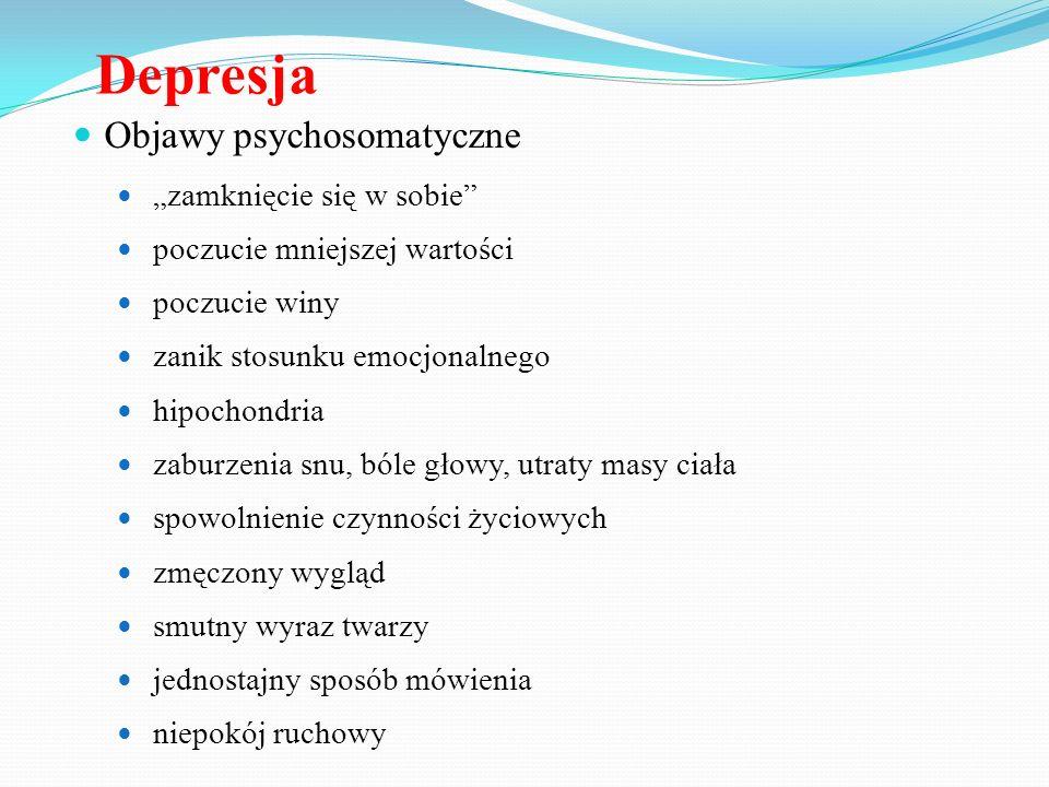 """Depresja Objawy psychosomatyczne """"zamknięcie się w sobie"""