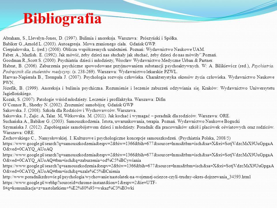 Bibliografia Abraham, S., Llevelyn-Jones, D. (1997). Bulimia i anoreksja. Warszawa: Prószyński i Spółka.