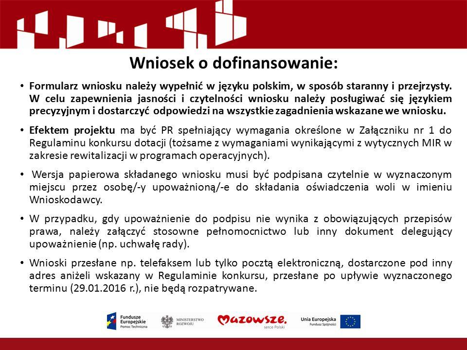 Wniosek o dofinansowanie: