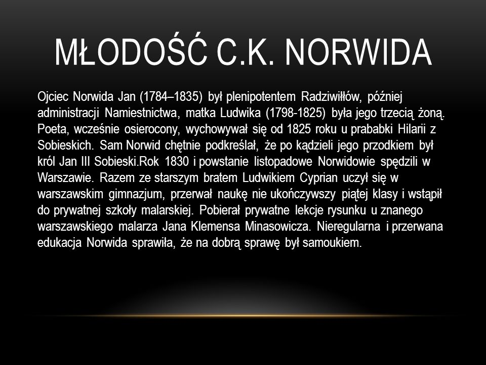 Młodość c.k. norwida