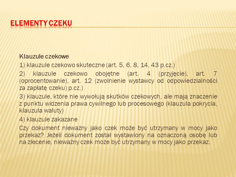 Elementy czeku