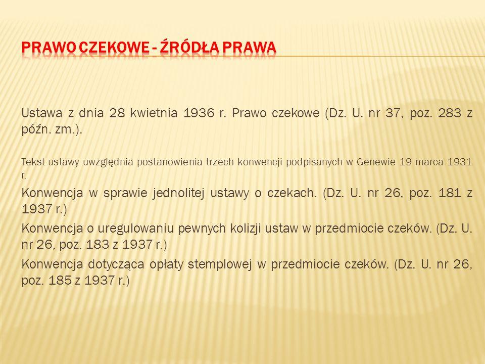 Prawo czekowe - źródła prawa