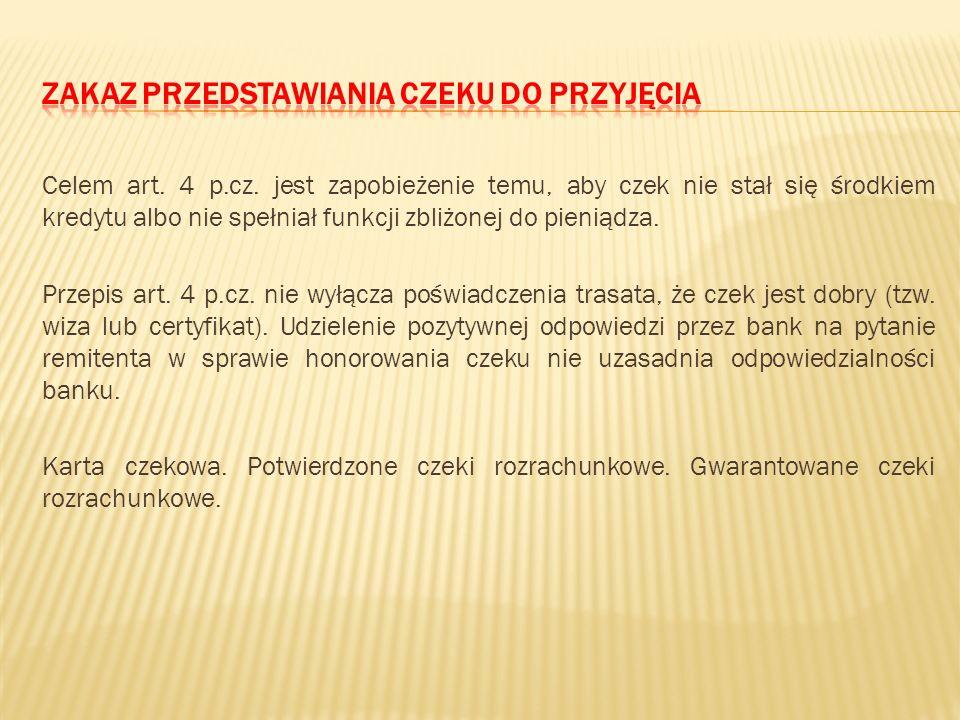 Zakaz przedstawiania czeku do przyjęcia