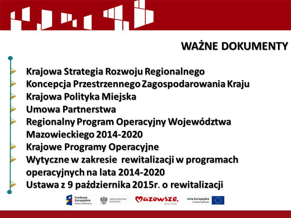 WAŻNE DOKUMENTY Krajowa Strategia Rozwoju Regionalnego