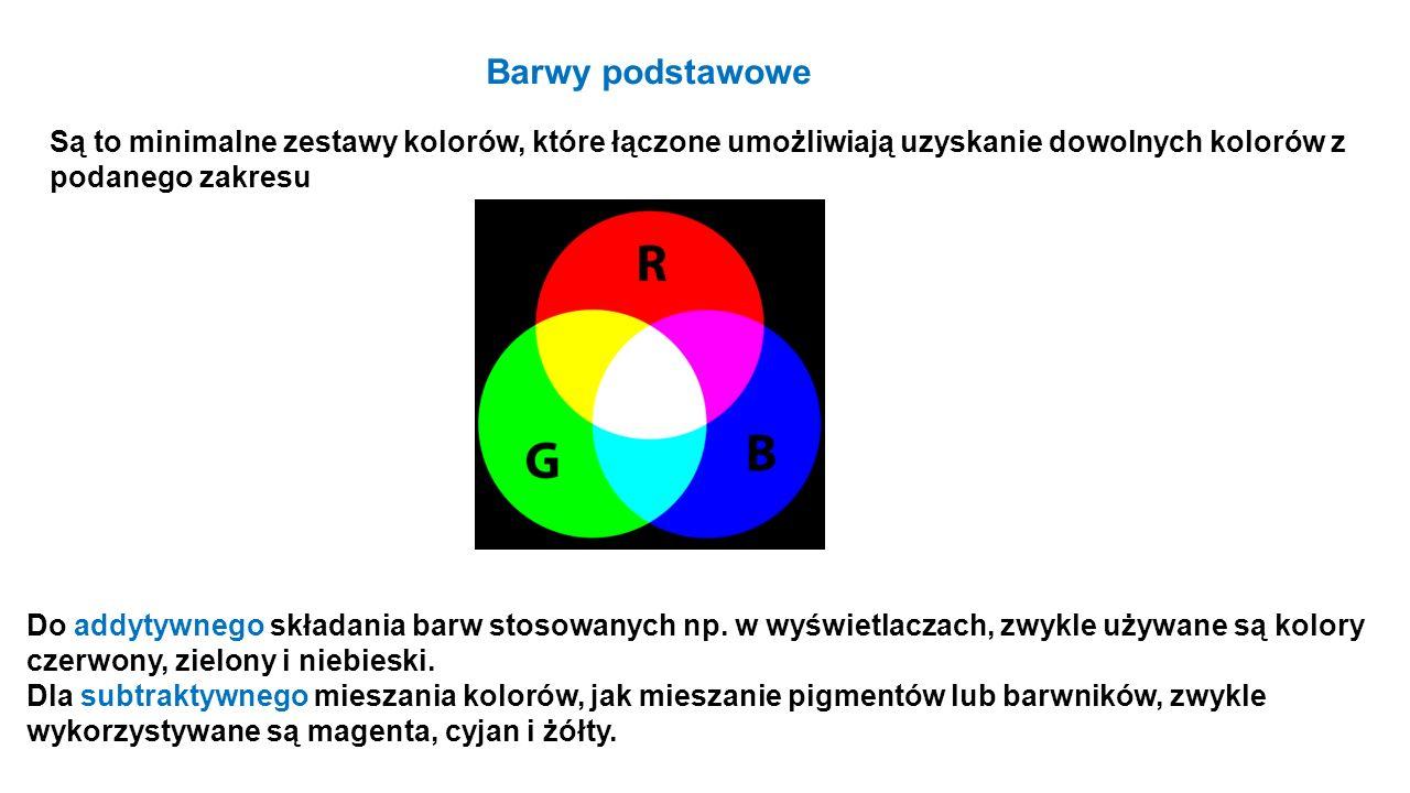 Barwy podstawowe Są to minimalne zestawy kolorów, które łączone umożliwiają uzyskanie dowolnych kolorów z podanego zakresu.