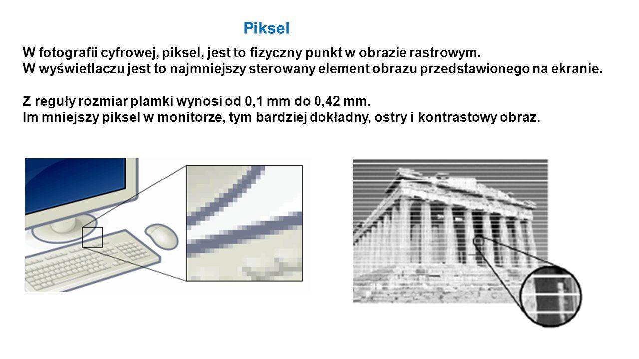 Piksel W fotografii cyfrowej, piksel, jest to fizyczny punkt w obrazie rastrowym.