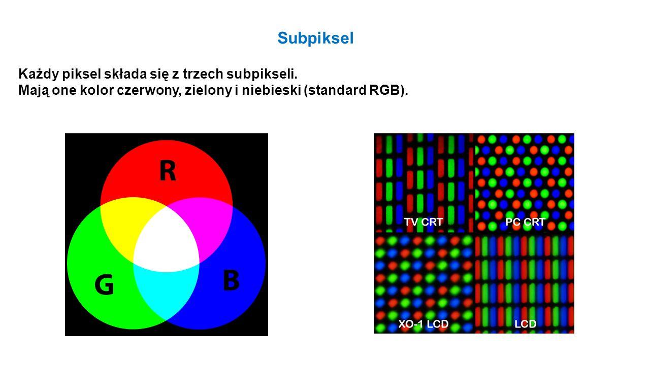 Subpiksel Każdy piksel składa się z trzech subpikseli.