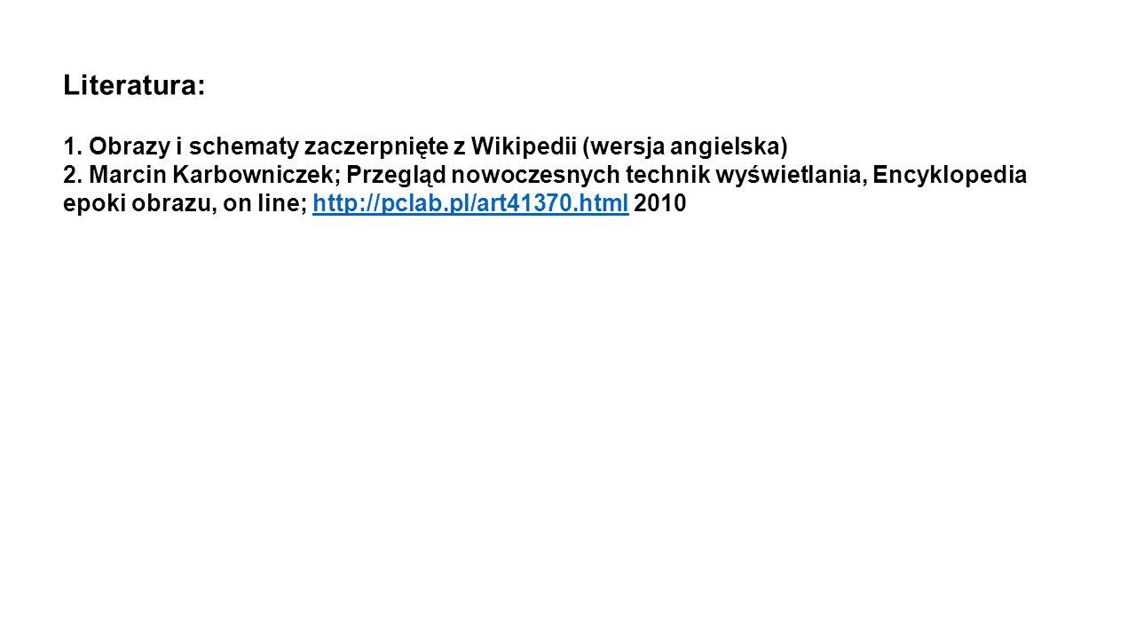 Literatura: 1. Obrazy i schematy zaczerpnięte z Wikipedii (wersja angielska)