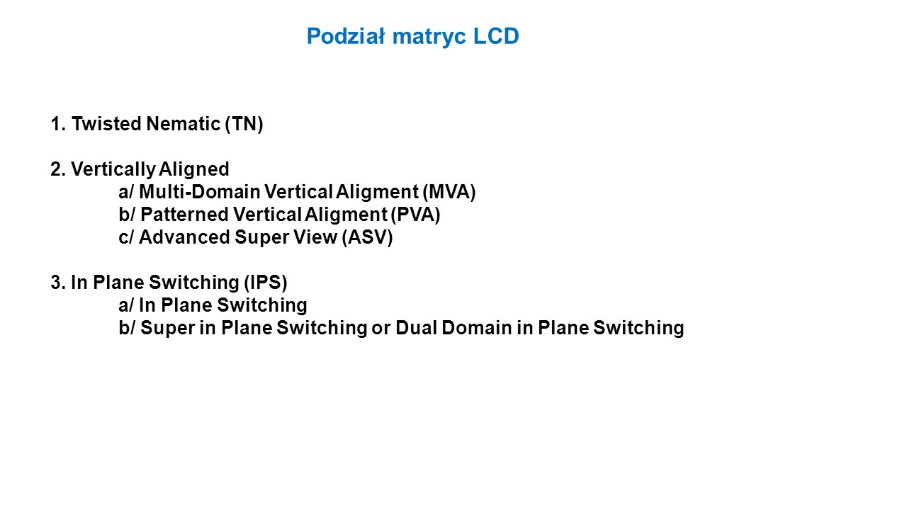 Podział matryc LCD 1. Twisted Nematic (TN) 2. Vertically Aligned