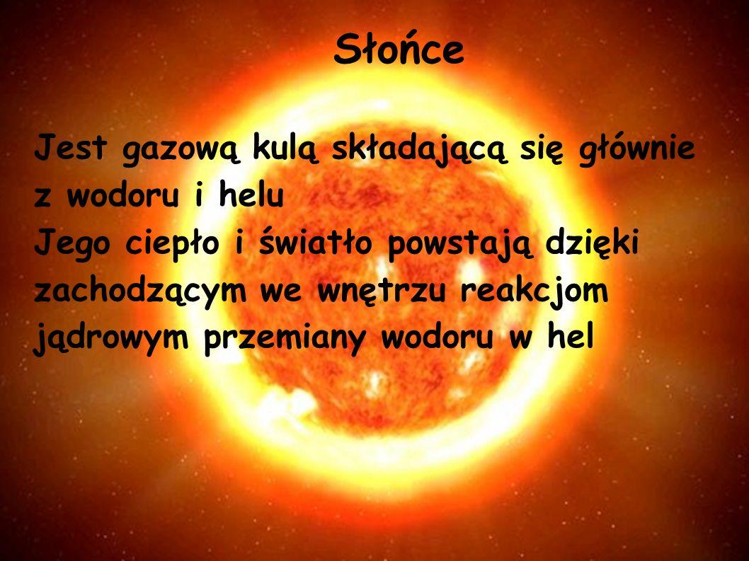 Słońce Jest gazową kulą składającą się głównie z wodoru i helu