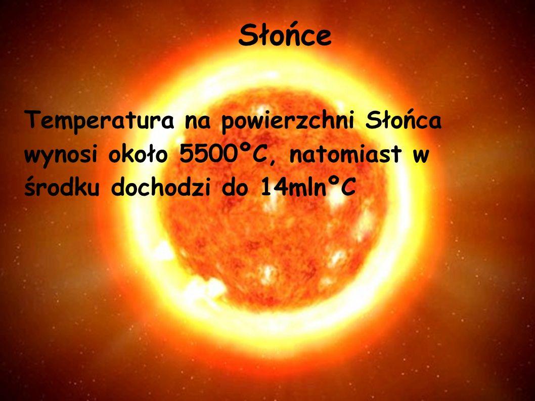 Słońce Temperatura na powierzchni Słońca wynosi około 5500ºC, natomiast w środku dochodzi do 14mlnºC.