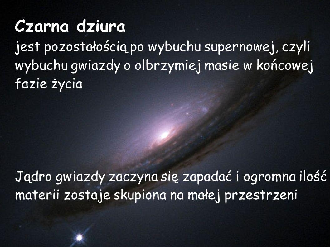 Czarna dziura jest pozostałością po wybuchu supernowej, czyli wybuchu gwiazdy o olbrzymiej masie w końcowej fazie życia.