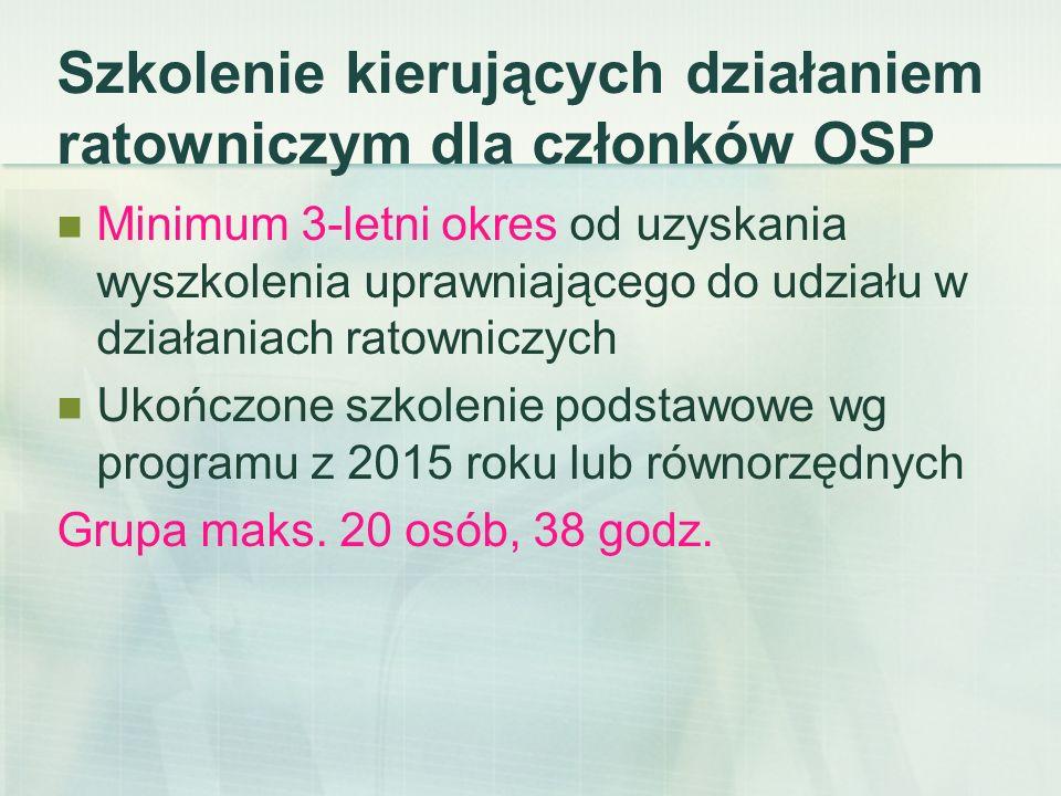 Szkolenie kierujących działaniem ratowniczym dla członków OSP