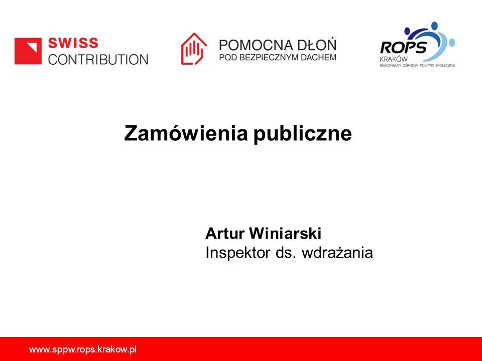 Zamówienia publiczne Artur Winiarski Inspektor ds. wdrażania