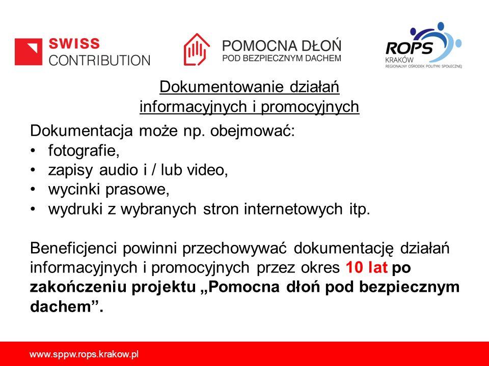 Dokumentowanie działań informacyjnych i promocyjnych