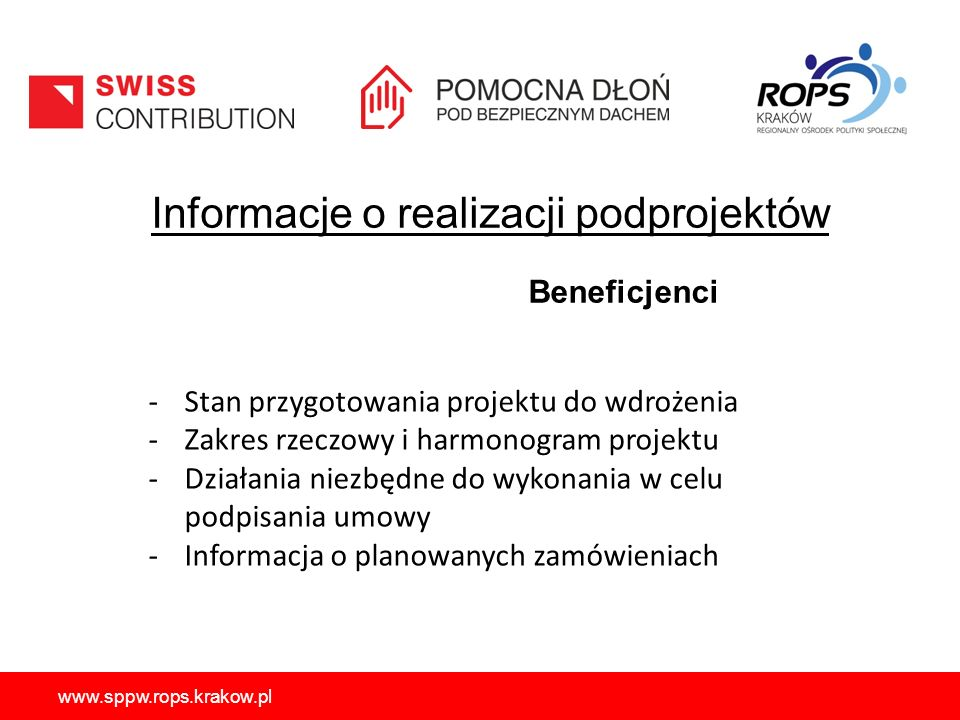 Informacje o realizacji podprojektów