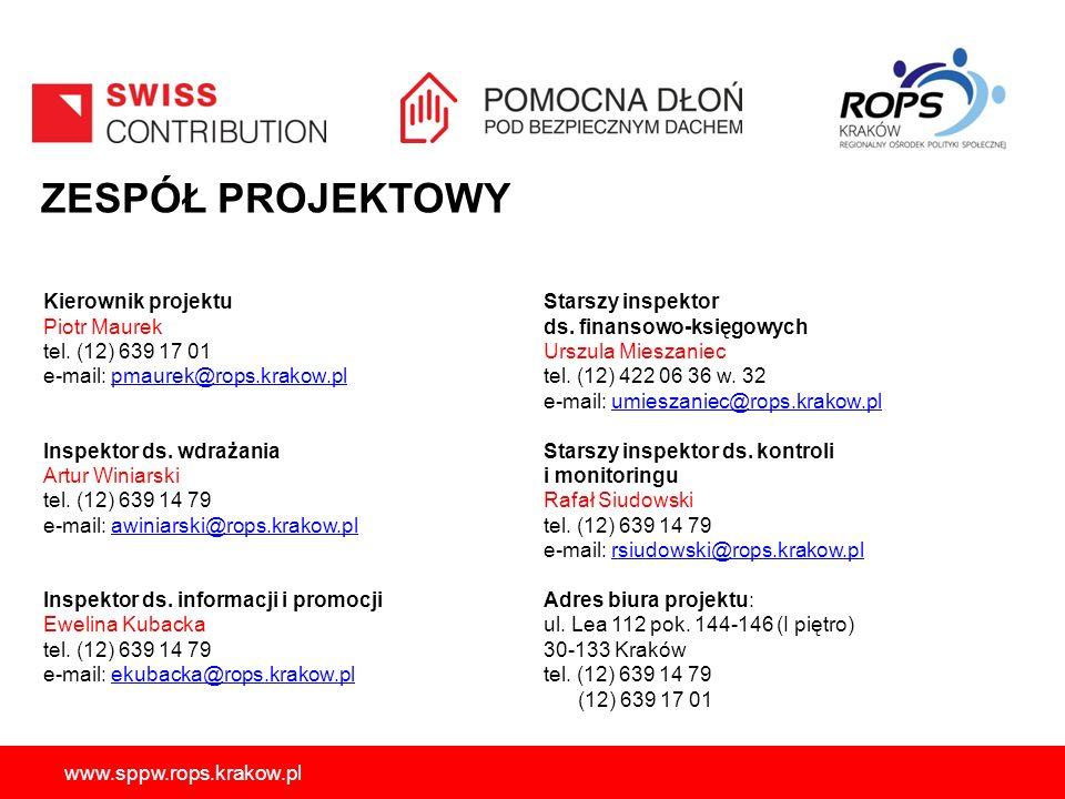 ZESPÓŁ PROJEKTOWY Kierownik projektu Piotr Maurek tel. (12) 639 17 01
