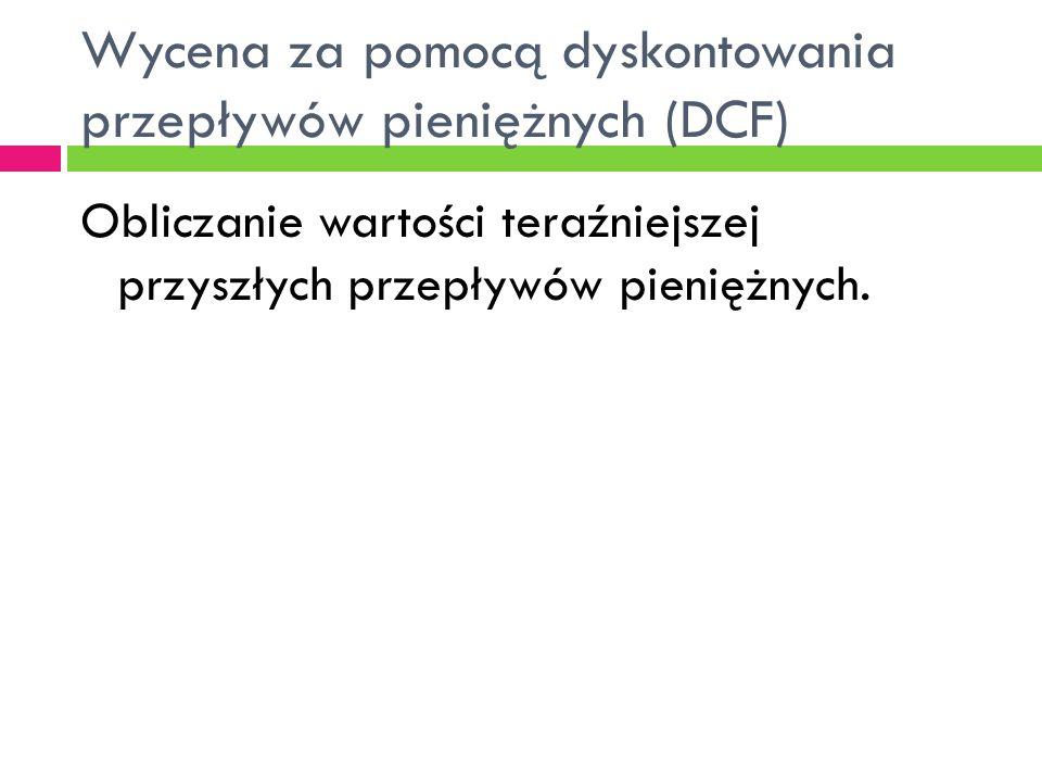 Wycena za pomocą dyskontowania przepływów pieniężnych (DCF)