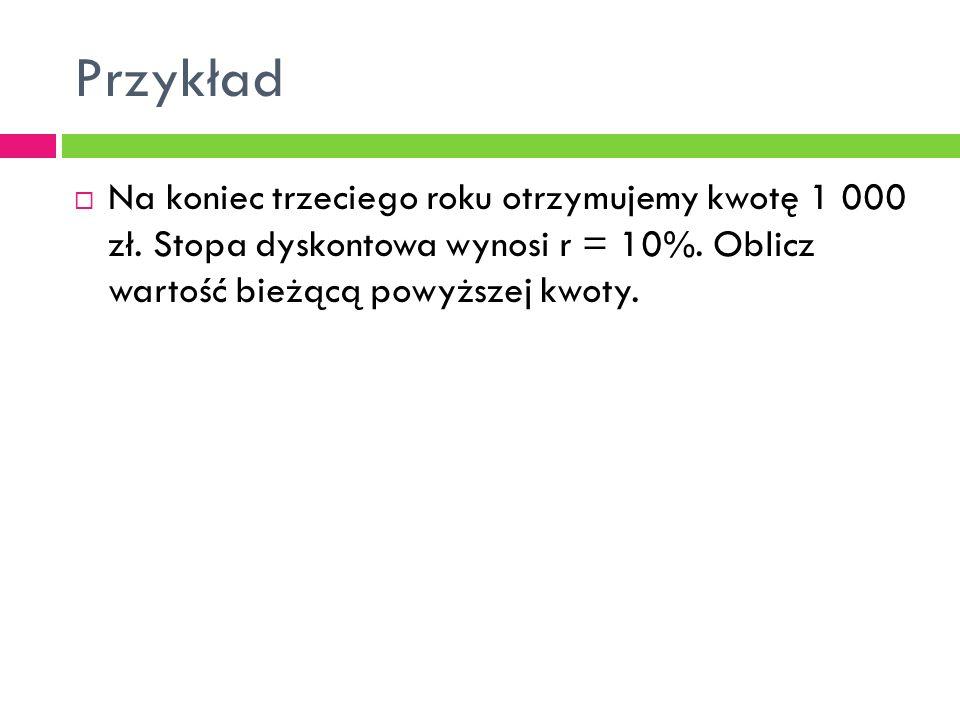 Przykład Na koniec trzeciego roku otrzymujemy kwotę 1 000 zł.