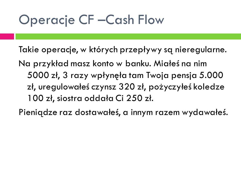 Operacje CF –Cash Flow