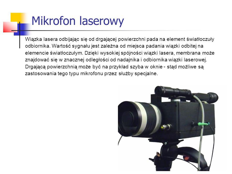 Mikrofon laserowy Wiązka lasera odbijając się od drgającej powierzchni pada na element światłoczuły.