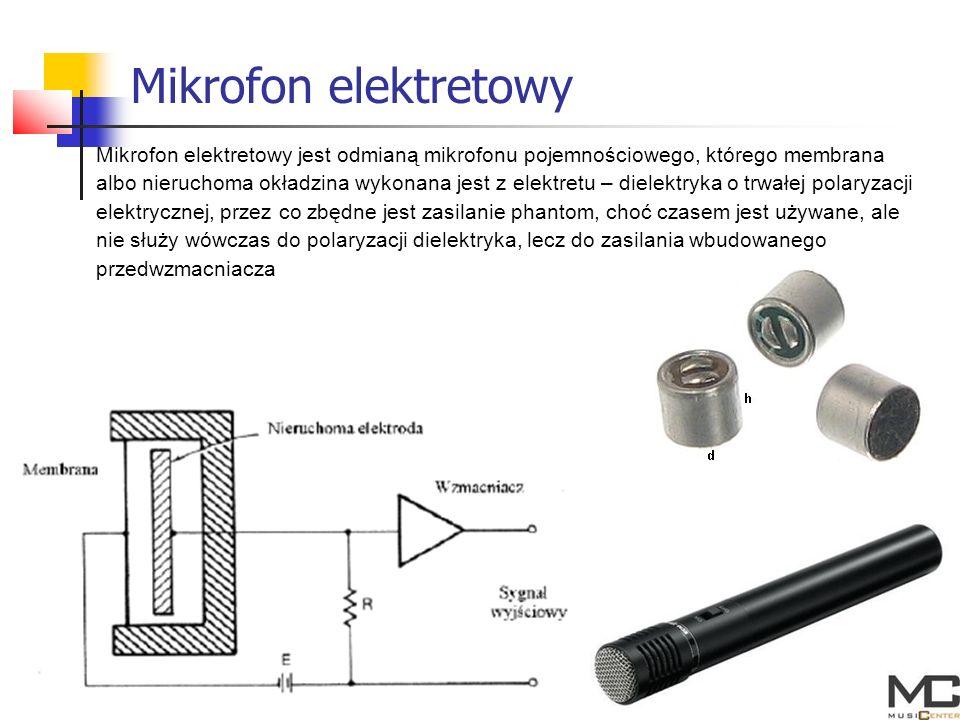 Mikrofon elektretowy Mikrofon elektretowy jest odmianą mikrofonu pojemnościowego, którego membrana.
