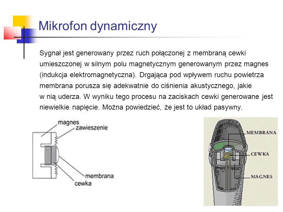 Mikrofon dynamiczny Sygnał jest generowany przez ruch połączonej z membraną cewki. umieszczonej w silnym polu magnetycznym generowanym przez magnes.