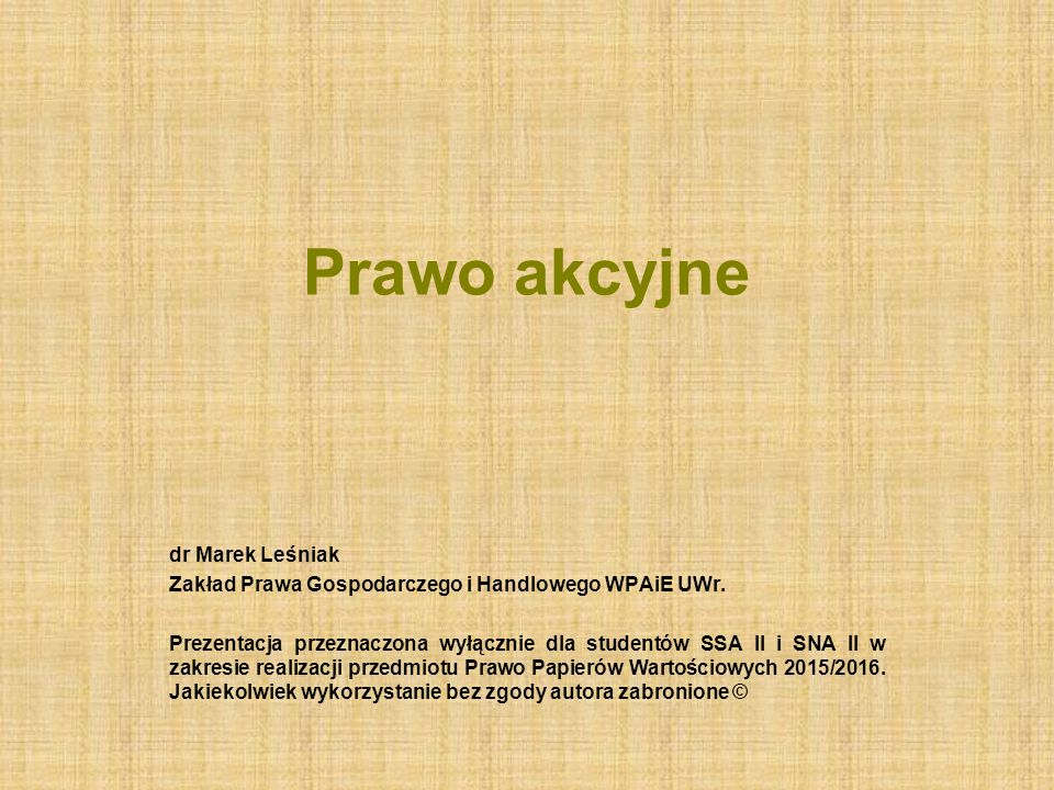 Prawo akcyjne dr Marek Leśniak