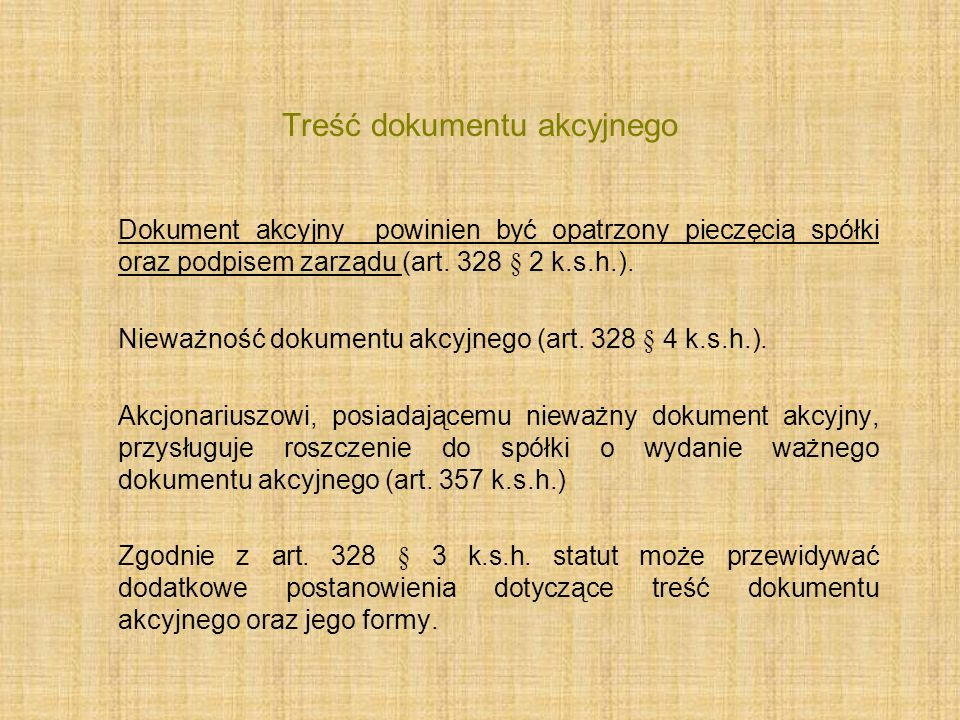 Treść dokumentu akcyjnego