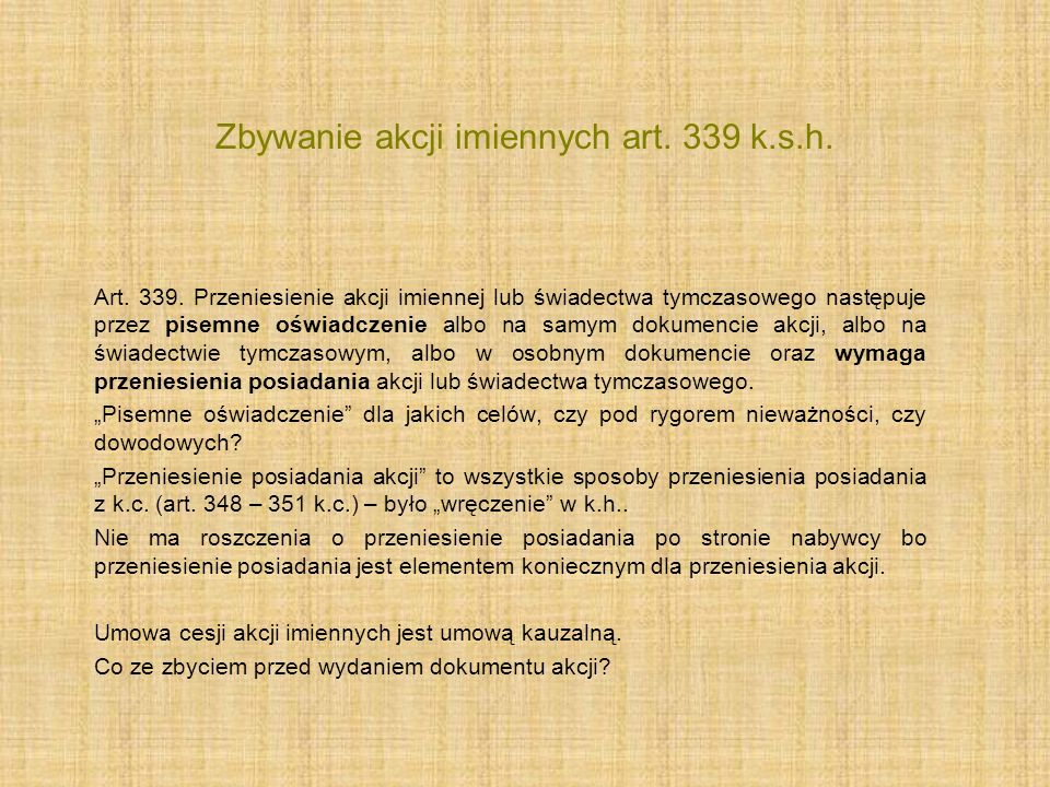 Zbywanie akcji imiennych art. 339 k.s.h.