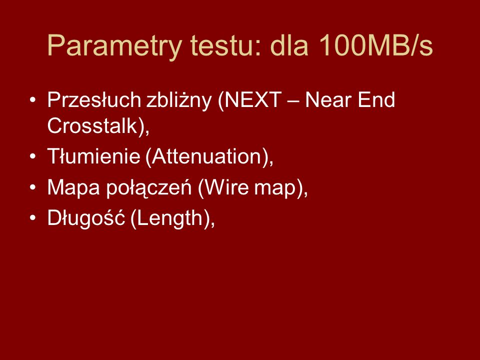 Parametry testu: dla 100MB/s
