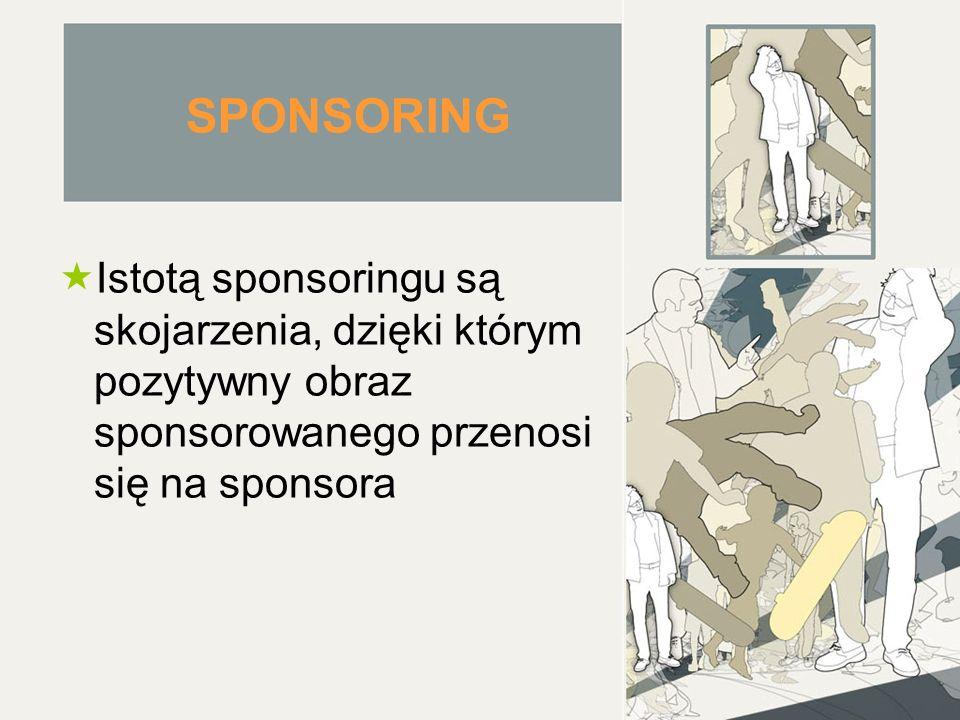 SPONSORING Istotą sponsoringu są skojarzenia, dzięki którym pozytywny obraz sponsorowanego przenosi się na sponsora.