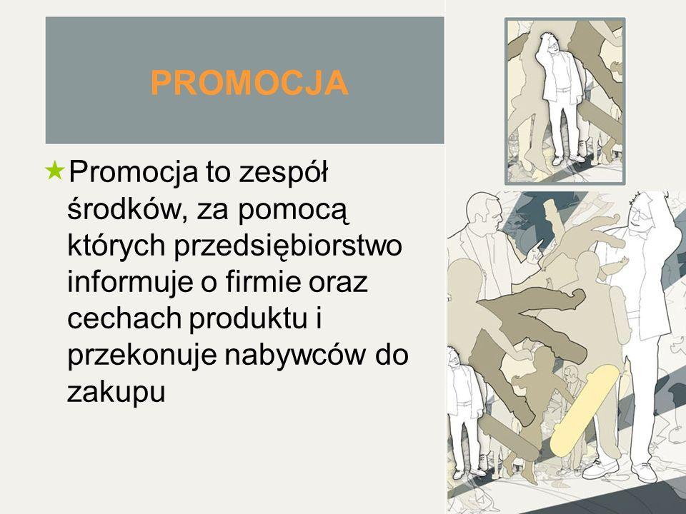 PROMOCJA Promocja to zespół środków, za pomocą których przedsiębiorstwo informuje o firmie oraz cechach produktu i przekonuje nabywców do zakupu.