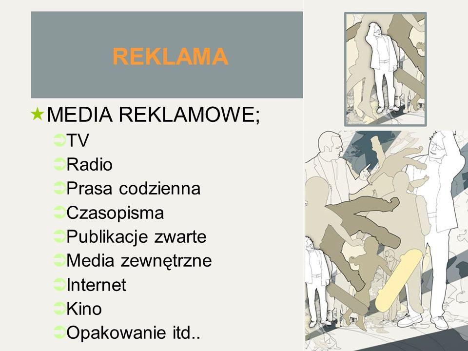 REKLAMA MEDIA REKLAMOWE; TV Radio Prasa codzienna Czasopisma