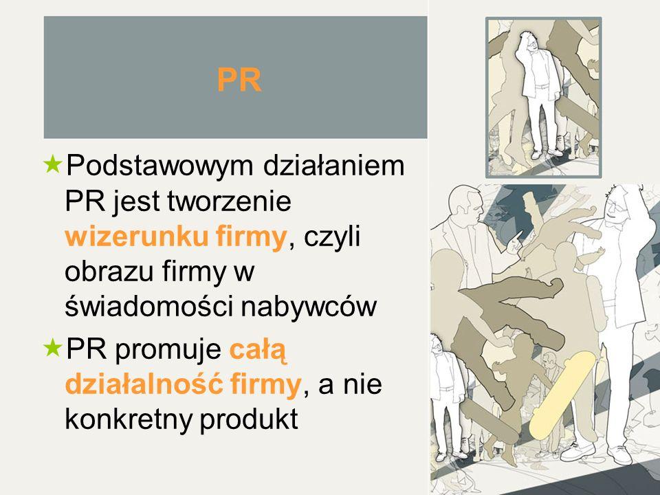 PR Podstawowym działaniem PR jest tworzenie wizerunku firmy, czyli obrazu firmy w świadomości nabywców.
