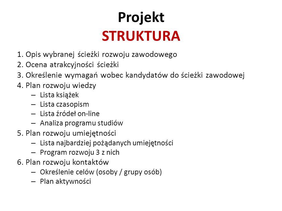 Projekt STRUKTURA 1. Opis wybranej ścieżki rozwoju zawodowego