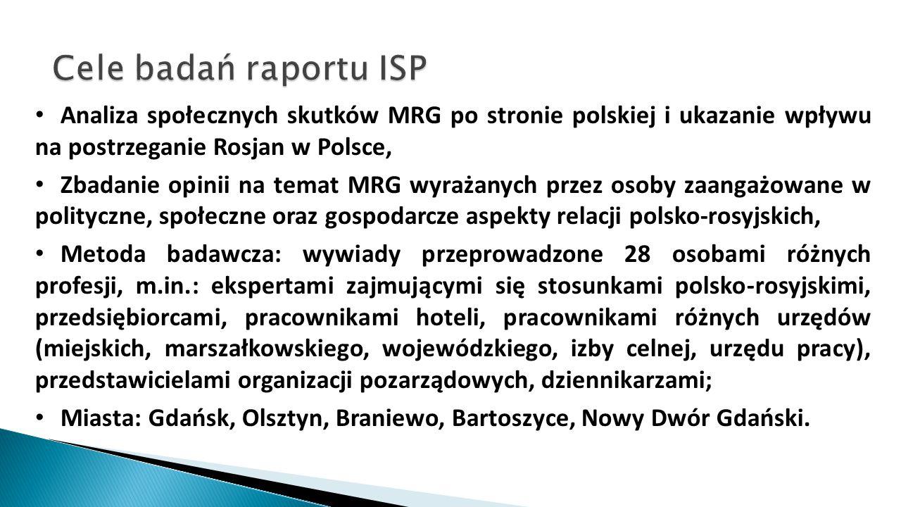 Cele badań raportu ISP Analiza społecznych skutków MRG po stronie polskiej i ukazanie wpływu na postrzeganie Rosjan w Polsce,