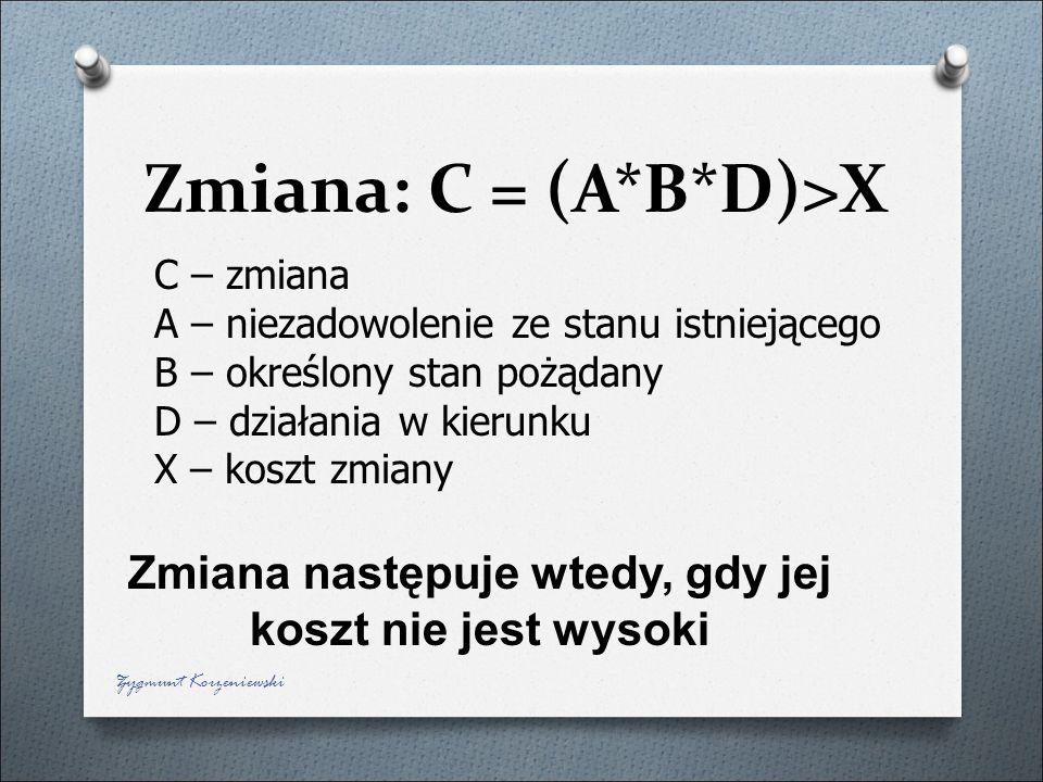 Zmiana: C = (A*B*D)>X