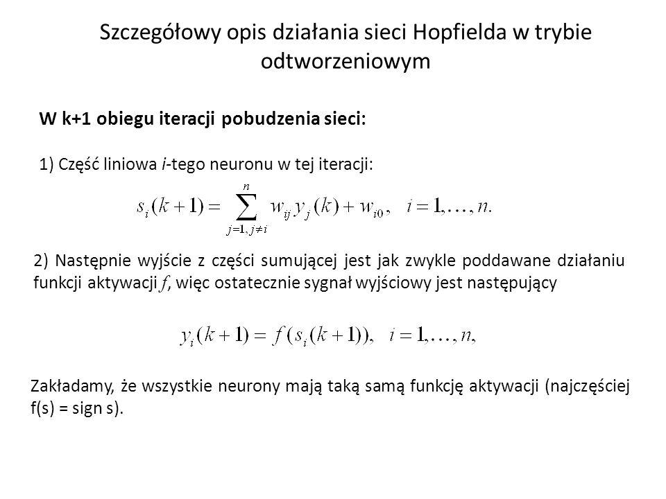 Szczegółowy opis działania sieci Hopfielda w trybie odtworzeniowym